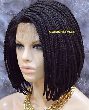 """16"""" Bob Jet Black With Baby Hair Box Braided Full Lace Front Wig Hair Piece #1"""