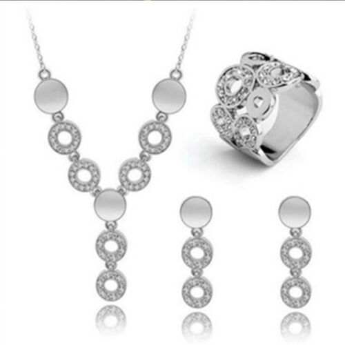 Fashion Women 18K Gold Plated Jewelry Set Necklace Ring Earrings Party Wedding