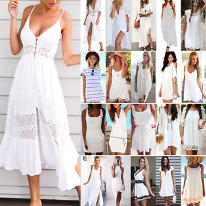 Women-White-Dress-Boho-Holiday-Mini-Long-Dress-Evening-Party-Beach-Sundress-UK
