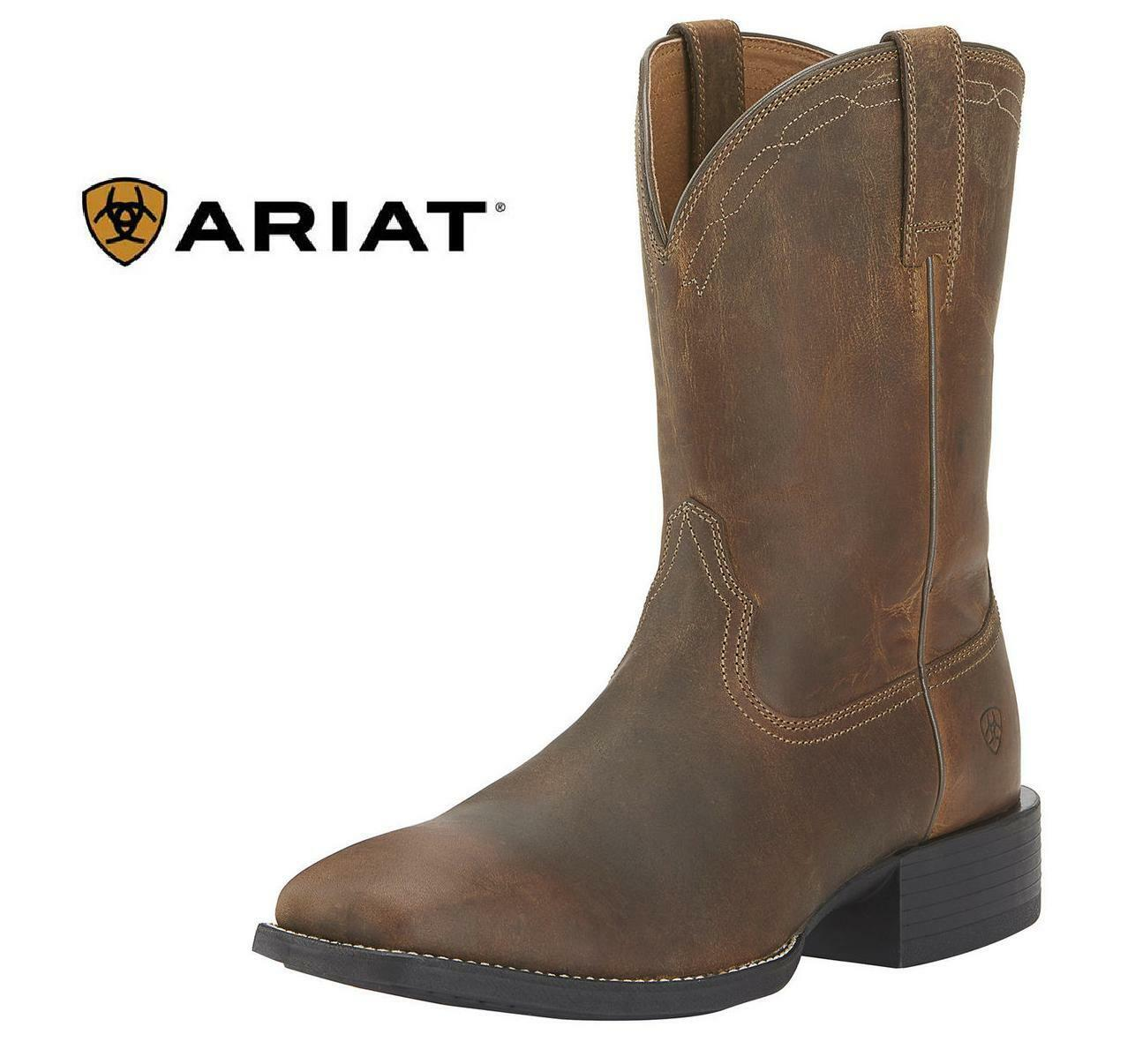 ARIAT Mens Square Toe Heritage Roper Distressed Brown NEW - ALL Sizes Available