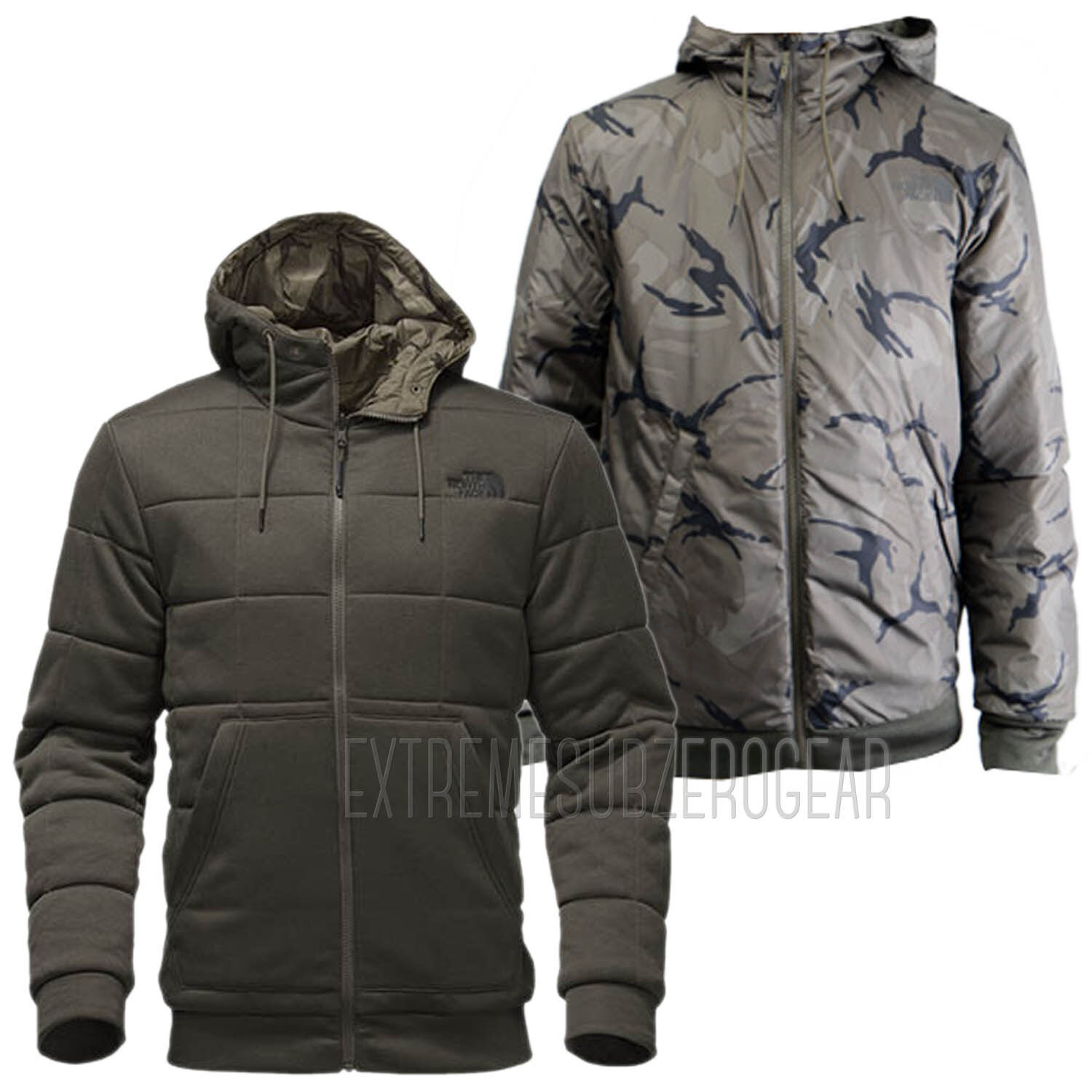 THE NORTH FACE Mens 2018 KINGSTON REVERSIBLE HOODIE New Taupe Green Disrupt Camo