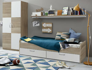 Jugendzimmer Kinderzimmer Set Kleiderschrank Bett Regal weiß und ...