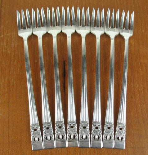 """Set 8 x Seafood Cocktail Forks 6/"""" Oneida Community Coronation 1936 vintage"""