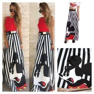 Details about MICKEY MOUSE Disney Maxi Long Black Stripe High Waist Dress  SKIRT PLUS SIZE S-XL