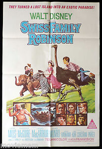 SWISS-FAMILY-ROBINSON-Original-ONE-SHEET-Movie-Poster-Disney-John-Mills