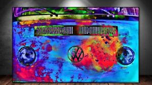 VW Bulli farbig  Bild auf Leinwand  Poster Wandbild  XXL 160 cm*80 cm 515