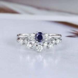 1-6ct-Round-Cut-Blue-Sapphire-Engagement-Ring-Bridal-Set-14k-White-Gold-Finish