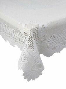 WHITE-HEAVY-LACE-ROSE-SCALLOP-STAIN-RELEASE-TABLE-CLOTH-36-034-SQUARE-7-58-EACH