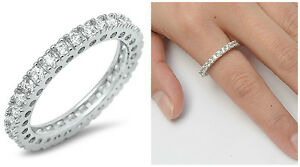 Sterling-Silver-925-STACKABLE-ETERNITY-CLEAR-CZ-BAND-DESIGN-RING-3MM-SIZES-5-12