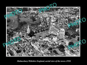 OLD-LARGE-HISTORIC-PHOTO-OF-MALMESBURY-ENGLAND-AERIAL-VIEW-OF-THE-TOWN-c1950-2