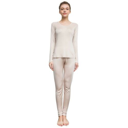 Women Silk T-shirt Top Long Johns Blouse Crew Neck Shirts Soft Knitted Casual