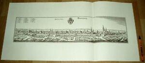 Braunschweig-alte-Ansicht-Merian-Druck-Stich-1650-sw-Niedersachsen-Staedteansicht