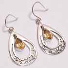925 Sterling Silver Earrings, Natural Citrine Gemstone Handcrafted Jewelry E189