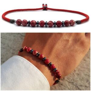 grande vendita 17e34 8b4cb Dettagli su Bracciale uomo pietre dure in pietra con diaspro rosso  braccialetto da naturale