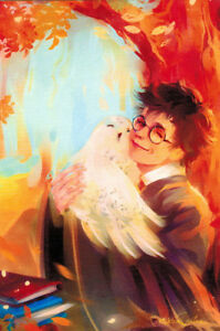 HARRY-POTTER-with-Snowy-Owl-HEDWIG-Modern-Russian-postcard