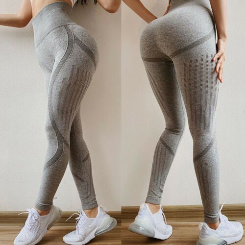 UK Ladies Yoga Fitness Seamless Leggings Running Gym Push Up Exercise Yoga Pants
