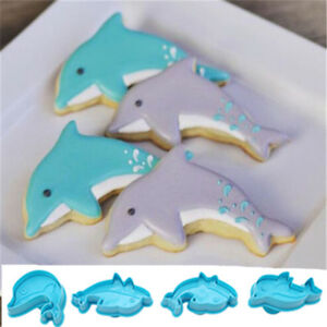 Image Is Loading 4x Pack Cute Dolphin Cookie Plunger Cutter Fondant