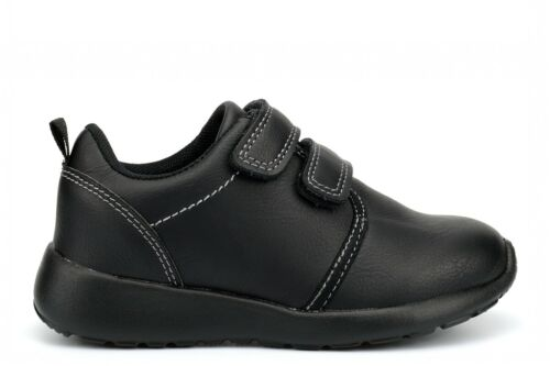 Boys Touch Fasten School Shoes Light Weight School Trainers Fastening Black Size