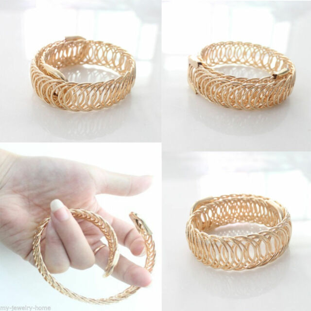 New Fashion Women Hollow Out Design Bracelet Gift Party Gold Plated Cuff Bangle