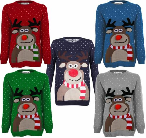 New Unisex Ladies Mens Rudolph Reindeer 3d Nose Snow Flakes Christmas Jumpers