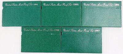 "1994 Through 1998 PROOF sets-/""Green Sets/"" Lot of 5 Sets"