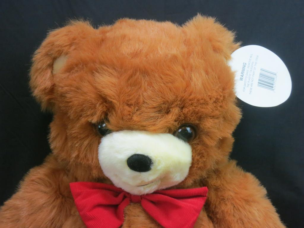 BIG NEW JUMBO DAN DEE CINNAMON braun TEDDY BEAR rot CORDUROY BO PLUSH 27