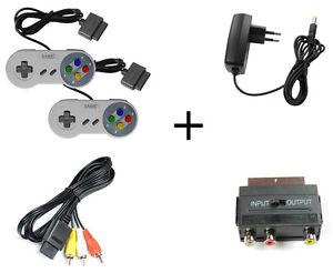 Super-Nintendo-Set-AV-Cinch-Kabel-Scartadapter-Netzteil-2x-Controller-Neu