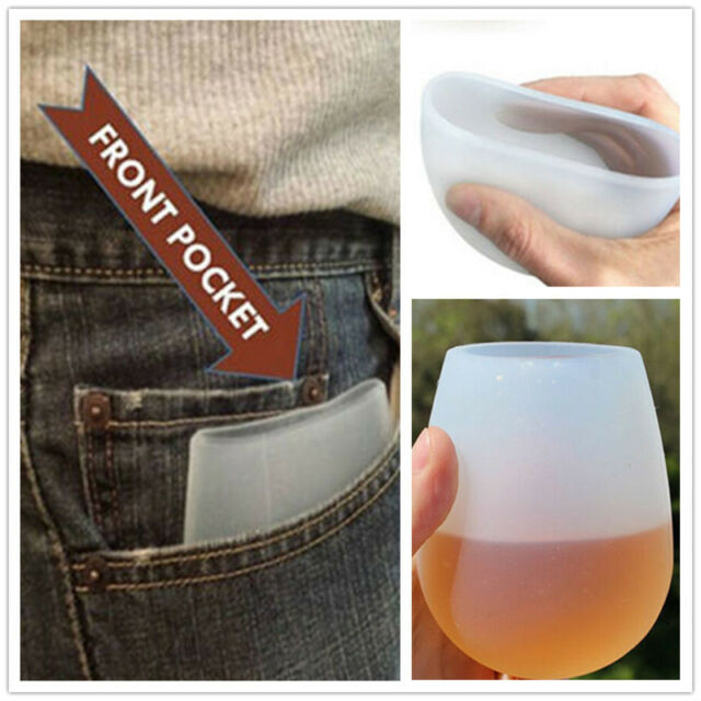 Portable Silicone Stemless Red Wine Cups Cocktail Glass Collapsible good quality