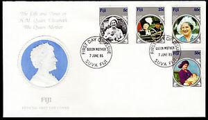 Fidschi-525-28-FDC-85-Geburtstag-Koeniginmutter-Elisabeth