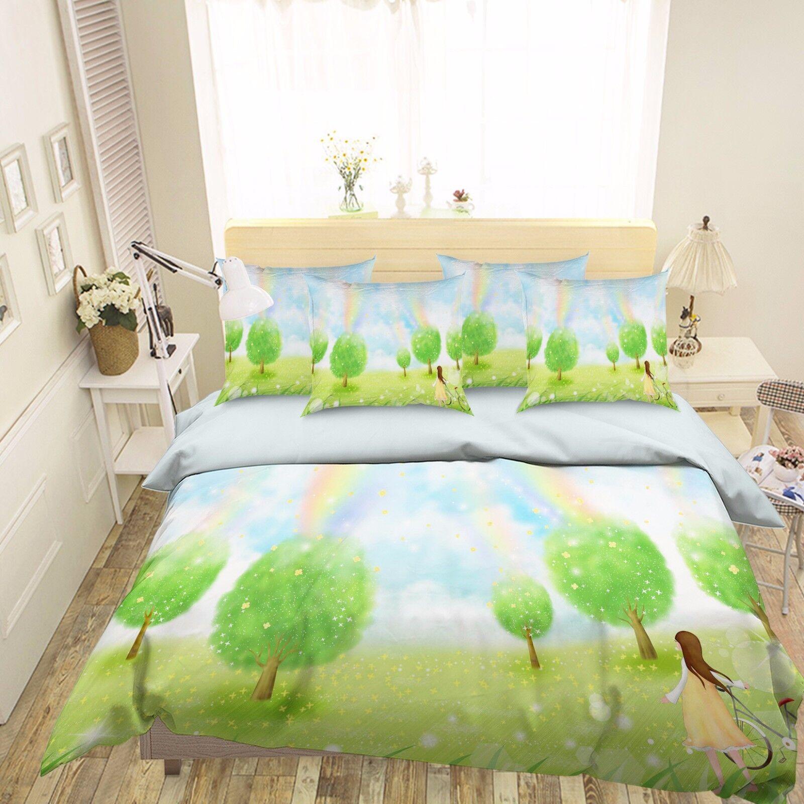 3D Rainbow Woods Cute Girl 62 Bed Pillowcases Quilt Duvet Cover Set Single Queen