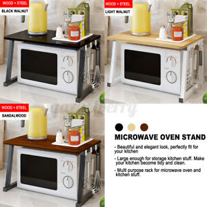 Wooden Kitchen Microwave Oven Rack Shelf Stand with 3/6 Hooks Rack Storage USA