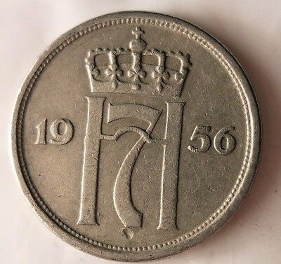 Norway Bin #3 Excellent Vintage Coin FREE SHIPPING 1956 NORWAY 25 ORE