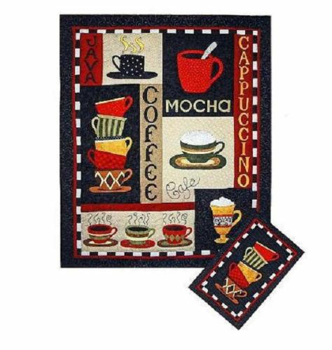 Designs Lg /& Sm COFFEE QUILT Patterns #525~Applique by Hand or Machine~Bobbie G