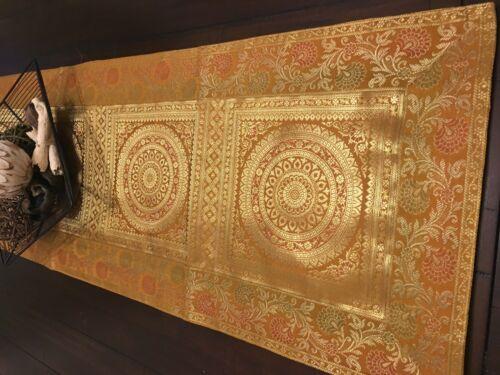 "Formal Brocade Table Runner//wall Tapestry Silk 16/""X 60/"" Beautiful"