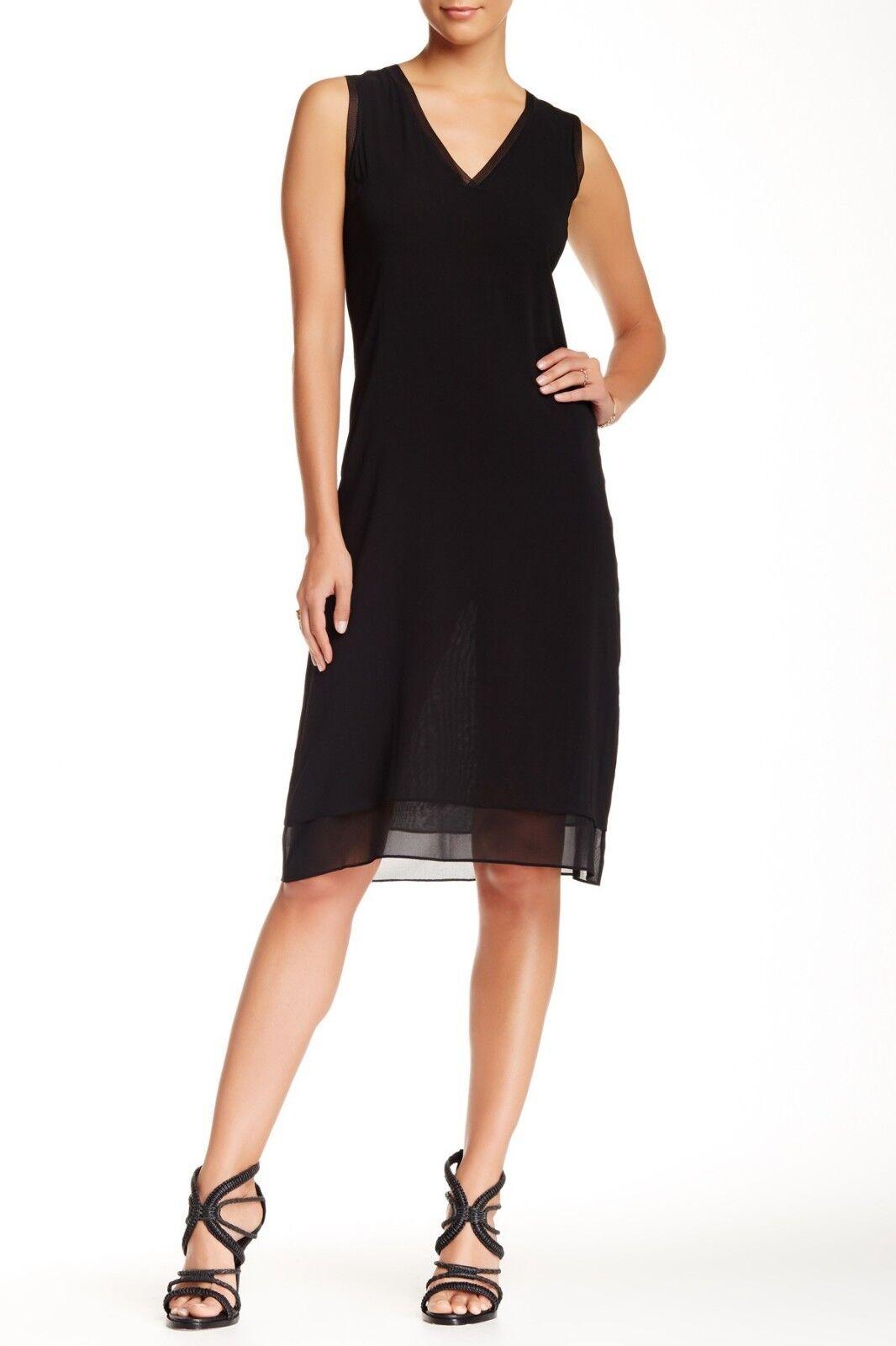 Vince Silk Blend V Neck Dress Rib Trim schwarz Sz XS Dress