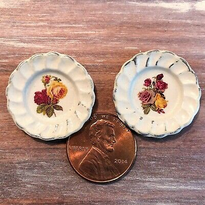 Dollhouse miniature accessories 1:12 Shabby Chic Roses Dinner Plate Set
