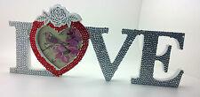 Figura de madera signo de diamantes de imitación Amor Navidad Decoración Shabby Chic Casa