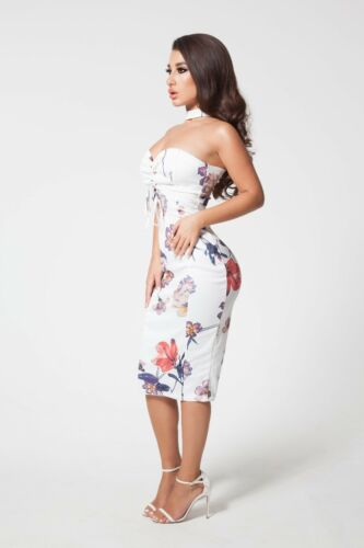 White Floral Fitted Stretch Bandeau Bodycon Choker Dress in Small And Medium