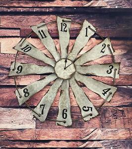 """Galvanized Windmill Wall Clock - 22"""""""