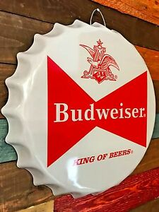 Budweiser-Beer-Bow-Tie-Bottle-Cap-Shaped-Grey-amp-Red-Sign-Game-Room-Man-Cave-Bar