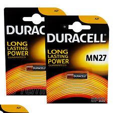 2 x Duracell Alkaline MN27 12V batteries A27 GP27A E27A EL812 EXP:2020