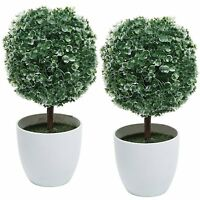 Artificial White Flower Table Plant 2pc Decorative Faux Floral White Pot Home
