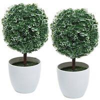 Artificial White Flower Table Plant 2pc Decorative Faux Floral White Pot Home