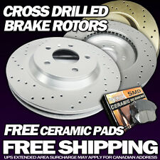 P0336 2 Front 2 Rear Cross Drilled Brake Rotors and 8 Pads