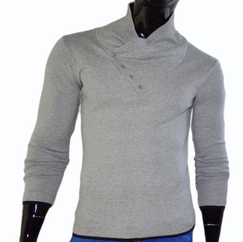 NUOVO TOP engsitzende Maglietta tempo libero uomo Long Top Maglione Pullover Clubwear