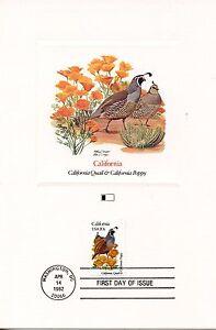 First Day Of Issue / Fdc / Oiseaux & Fleurs Des 50 Etats Des Usa / California La Qualité D'Abord