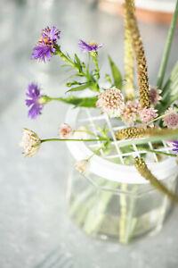 Ib Laursen Gläser mit Netzdeckel in weiß D10cm Blumenvase Blumen Glas Metall