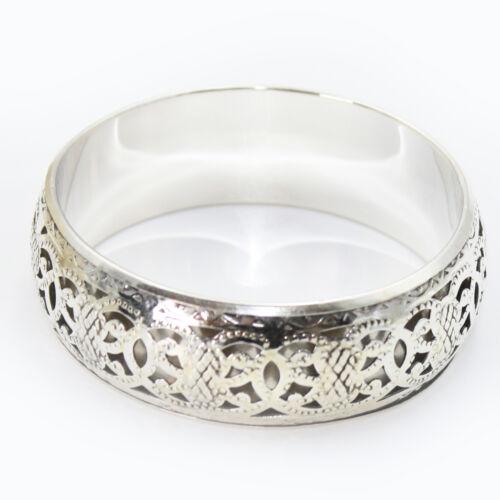 Brazalete de metal maduro Bangle pulseras 25mm ancha Goa hippie india plata s26