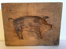 ANTIQUE VINTAGE PRIMITIVE HAND CARVED WOOD PIG MOLD. BUTTER. SPRINGERLE