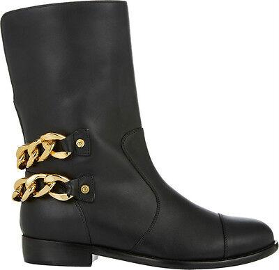 Giuseppe Zanotti Chain-Embellished Black Leather Moto Boots Size 39